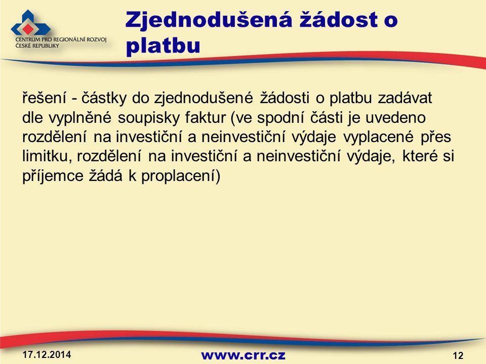 www.crr.cz Zjednodušená žádost o platbu řešení - částky do zjednodušené žádosti o platbu zadávat dle vyplněné soupisky faktur (ve spodní části je uved