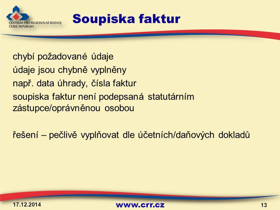 www.crr.cz Soupiska faktur chybí požadované údaje údaje jsou chybně vyplněny např. data úhrady, čísla faktur soupiska faktur není podepsaná statutární