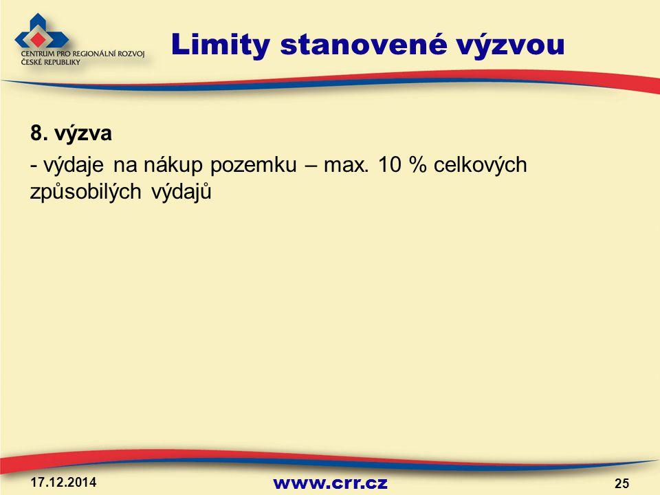 www.crr.cz Limity stanovené výzvou 8. výzva - výdaje na nákup pozemku – max. 10 % celkových způsobilých výdajů 17.12.2014 25
