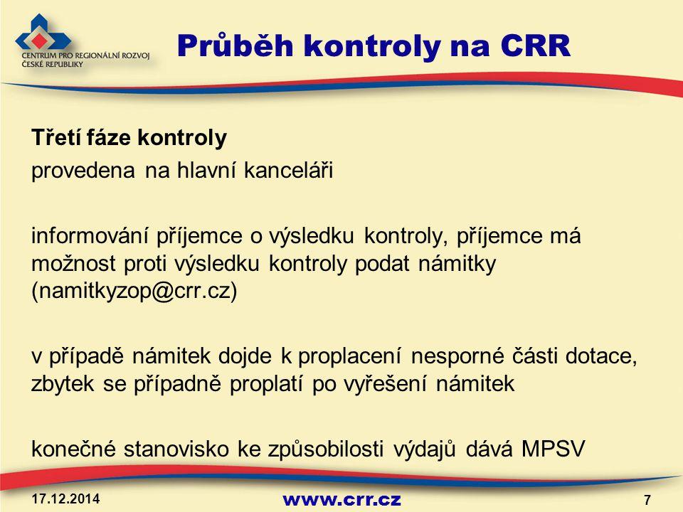 www.crr.cz Průběh kontroly na CRR Třetí fáze kontroly provedena na hlavní kanceláři informování příjemce o výsledku kontroly, příjemce má možnost prot