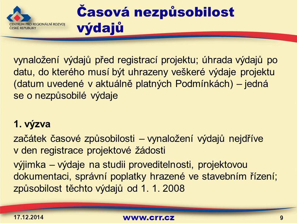 www.crr.cz Časová nezpůsobilost výdajů vynaložení výdajů před registrací projektu; úhrada výdajů po datu, do kterého musí být uhrazeny veškeré výdaje