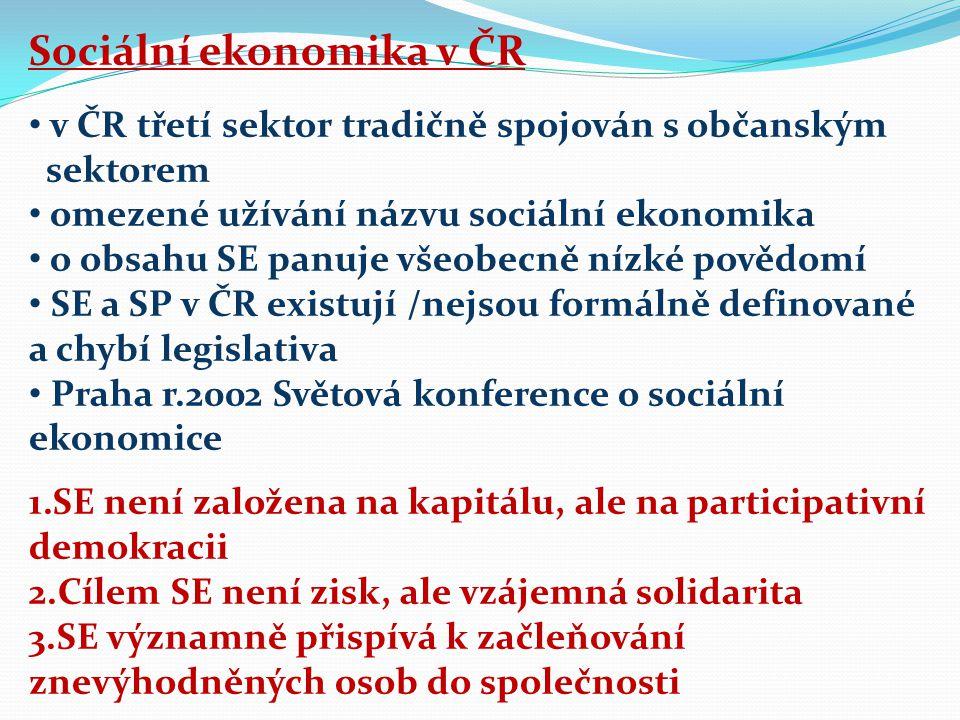 Sociální ekonomika v ČR v ČR třetí sektor tradičně spojován s občanským sektorem omezené užívání názvu sociální ekonomika o obsahu SE panuje všeobecně