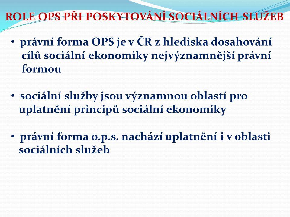 ROLE OPS PŘI POSKYTOVÁNÍ SOCIÁLNÍCH SLUŽEB právní forma OPS je v ČR z hlediska dosahování cílů sociální ekonomiky nejvýznamnější právní formou sociální služby jsou významnou oblastí pro uplatnění principů sociální ekonomiky právní forma o.p.s.
