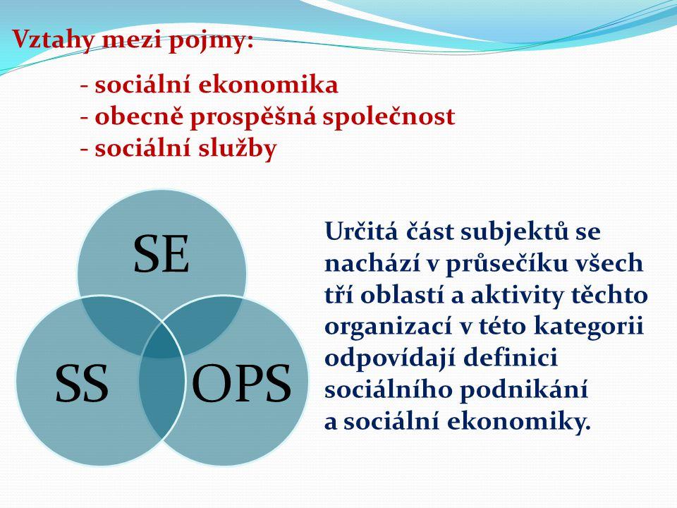 Vztahy mezi pojmy: - sociální ekonomika - obecně prospěšná společnost - sociální služby SE OPSSS Určitá část subjektů se nachází v průsečíku všech tří oblastí a aktivity těchto organizací v této kategorii odpovídají definici sociálního podnikání a sociální ekonomiky.