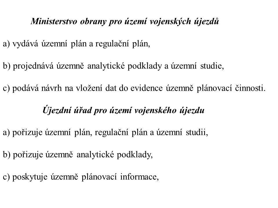 Ministerstvo obrany pro území vojenských újezdů a) vydává územní plán a regulační plán, b) projednává územně analytické podklady a územní studie, c) podává návrh na vložení dat do evidence územně plánovací činnosti.