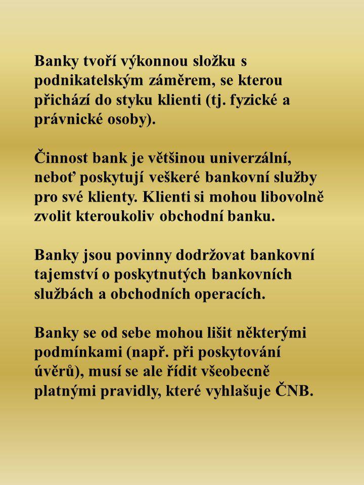 Banky tvoří výkonnou složku s podnikatelským záměrem, se kterou přichází do styku klienti (tj.
