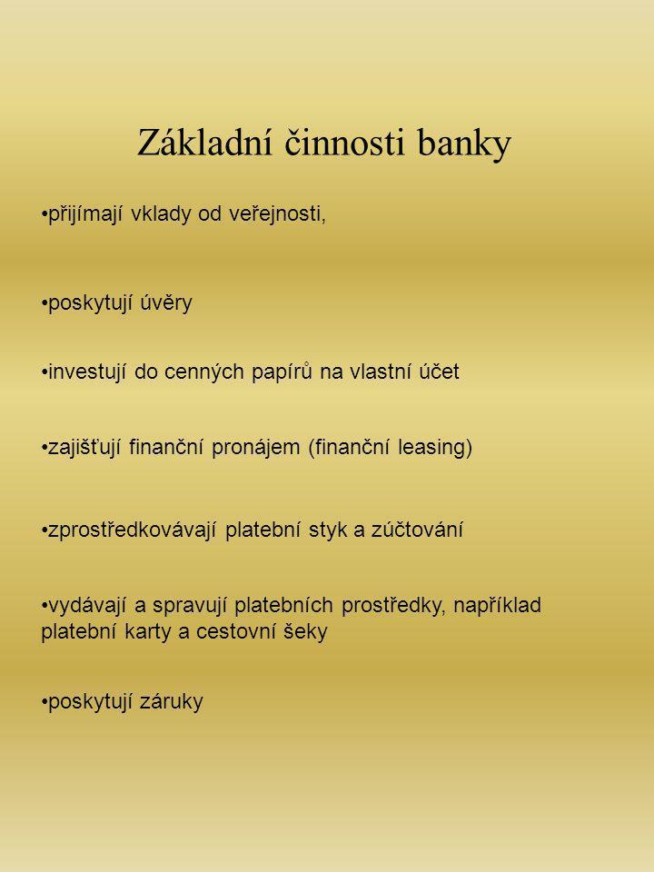 Základní činnosti banky přijímají vklady od veřejnosti, poskytují úvěry investují do cenných papírů na vlastní účet zajišťují finanční pronájem (finanční leasing) zprostředkovávají platební styk a zúčtování vydávají a spravují platebních prostředky, například platební karty a cestovní šeky poskytují záruky