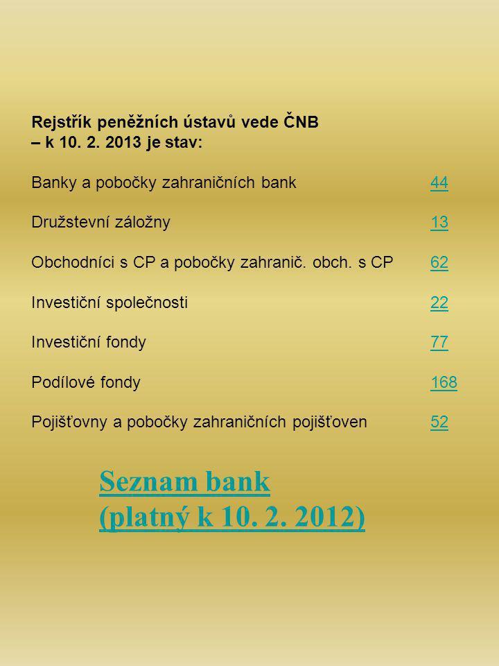 Rejstřík peněžních ústavů vede ČNB – k 10. 2.