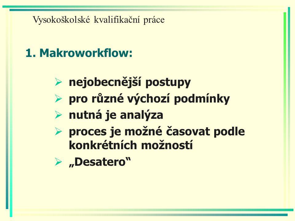 """1. Makroworkflow:  nejobecnější postupy  pro různé výchozí podmínky  nutná je analýza  proces je možné časovat podle konkrétních možností  """"Desat"""