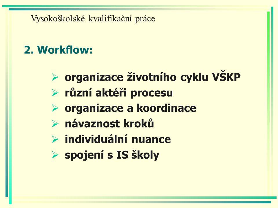 2. Workflow:  organizace životního cyklu VŠKP  různí aktéři procesu  organizace a koordinace  návaznost kroků  individuální nuance  spojení s IS