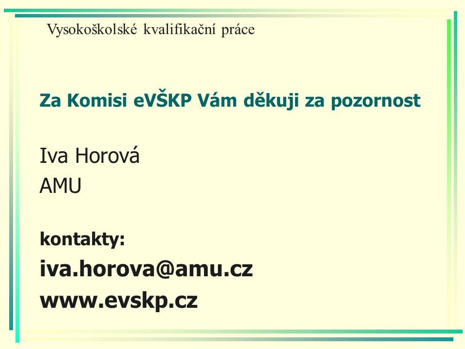 Za Komisi eVŠKP Vám děkuji za pozornost Iva Horová AMU kontakty: iva.horova@amu.cz www.evskp.cz Vysokoškolské kvalifikační práce
