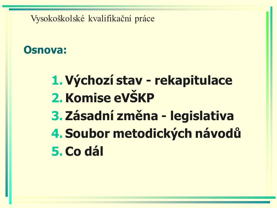 Osnova: 1.Výchozí stav - rekapitulace 2.Komise eVŠKP 3.Zásadní změna - legislativa 4.Soubor metodických návodů 5.Co dál Vysokoškolské kvalifikační práce