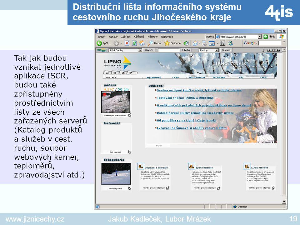 www.jiznicechy.czJakub Kadleček, Lubor Mrázek 19 C Tak jak budou vznikat jednotlivé aplikace ISCR, budou také zpřístupněny prostřednictvím lišty ze vš