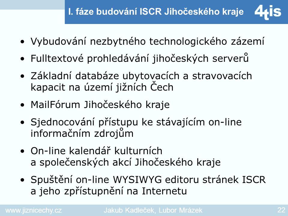 www.jiznicechy.czJakub Kadleček, Lubor Mrázek 22 I. fáze budování ISCR Jihočeského kraje Vybudování nezbytného technologického zázemí Fulltextové proh