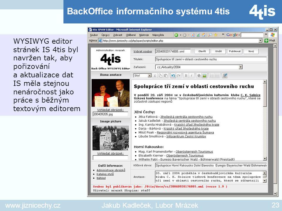 www.jiznicechy.czJakub Kadleček, Lubor Mrázek 23 WYSIWYG editor stránek IS 4tis byl navržen tak, aby pořizování a aktualizace dat IS měla stejnou nená