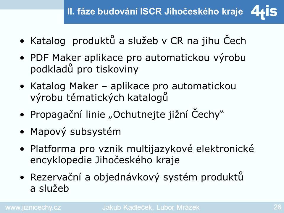 www.jiznicechy.czJakub Kadleček, Lubor Mrázek 26 II. fáze budování ISCR Jihočeského kraje Katalog produktů a služeb v CR na jihu Čech PDF Maker aplika