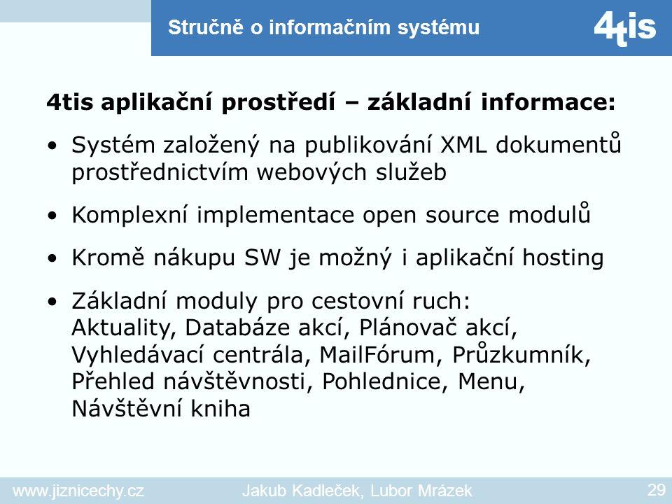 www.jiznicechy.czJakub Kadleček, Lubor Mrázek 29 4tis aplikační prostředí – základní informace: Systém založený na publikování XML dokumentů prostředn