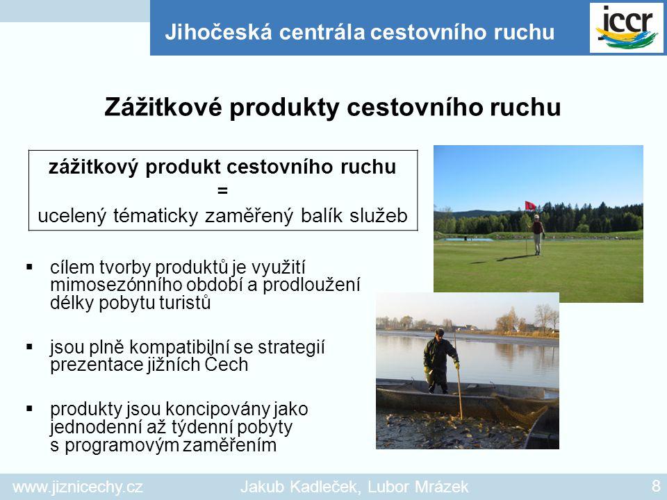 www.jiznicechy.czJakub Kadleček, Lubor Mrázek 8  cílem tvorby produktů je využití mimosezónního období a prodloužení délky pobytu turistů  jsou plně
