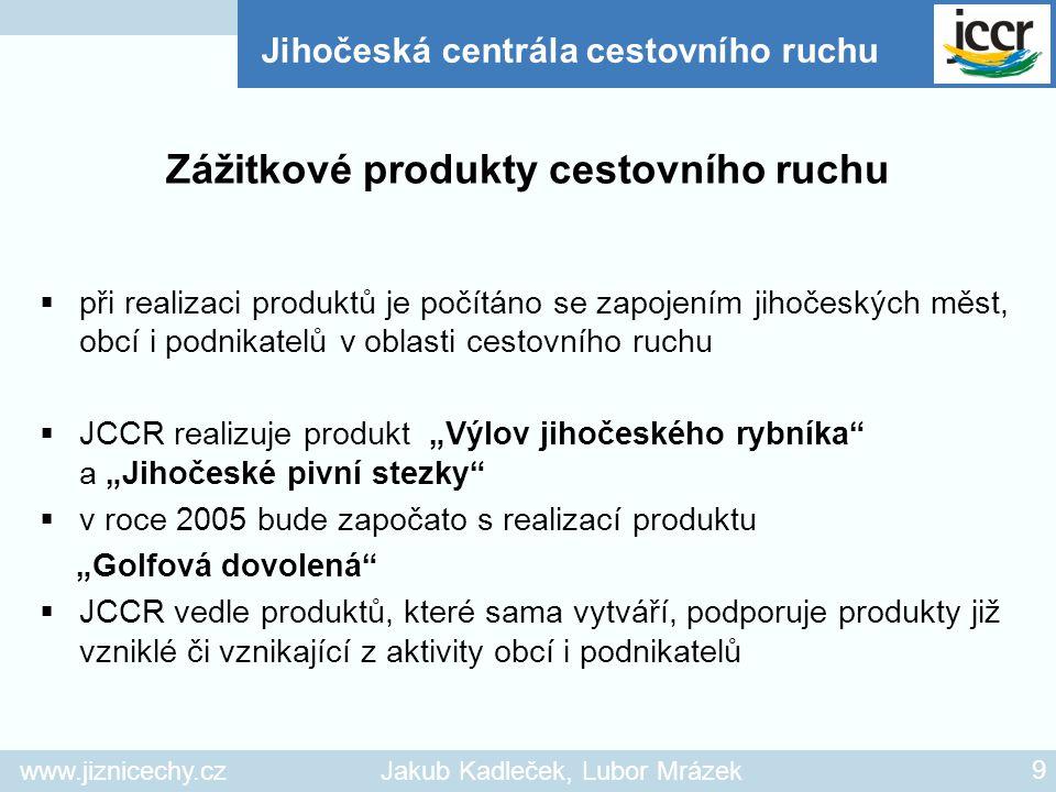 www.jiznicechy.czJakub Kadleček, Lubor Mrázek 9  při realizaci produktů je počítáno se zapojením jihočeských měst, obcí i podnikatelů v oblasti cesto