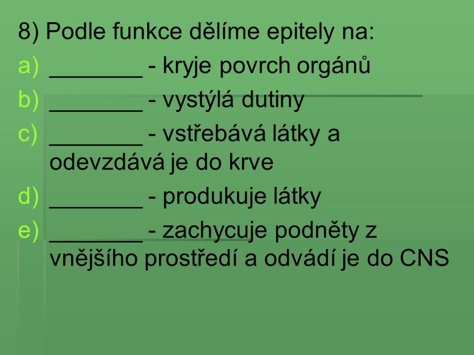 8) Podle funkce dělíme epitely na: a) a)_______ - kryje povrch orgánů b) b)_______ - vystýlá dutiny c) c)_______ - vstřebává látky a odevzdává je do k
