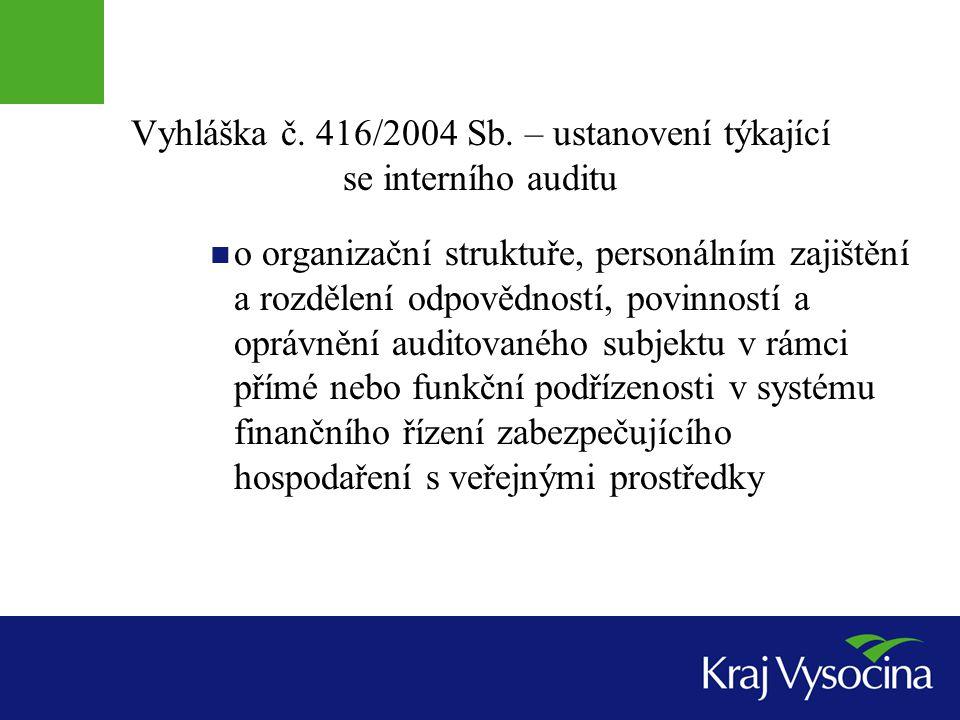 Vyhláška č. 416/2004 Sb. – ustanovení týkající se interního auditu o organizační struktuře, personálním zajištění a rozdělení odpovědností, povinností
