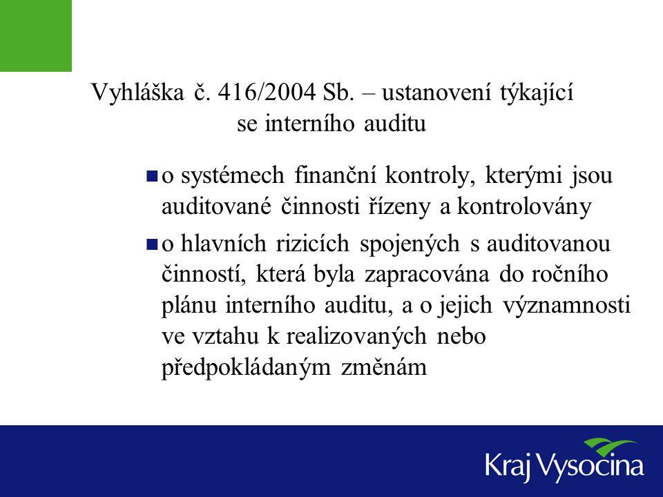 Vyhláška č. 416/2004 Sb. – ustanovení týkající se interního auditu o systémech finanční kontroly, kterými jsou auditované činnosti řízeny a kontrolová