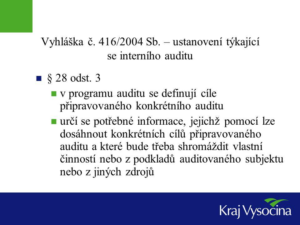 Vyhláška č. 416/2004 Sb. – ustanovení týkající se interního auditu § 28 odst. 3 v programu auditu se definují cíle připravovaného konkrétního auditu u