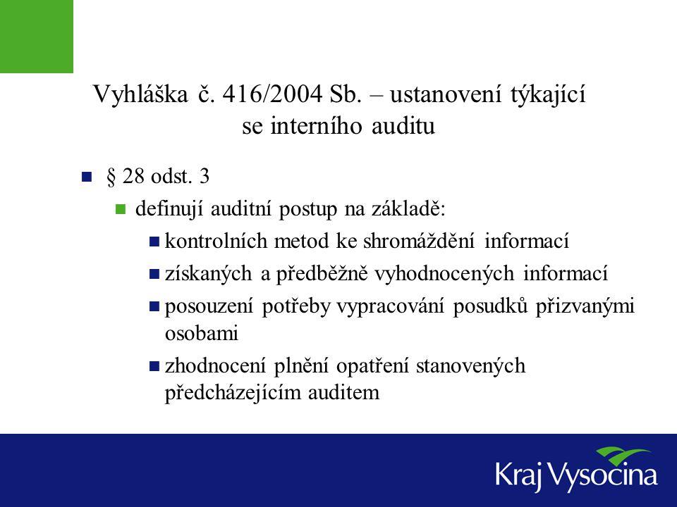 Vyhláška č. 416/2004 Sb. – ustanovení týkající se interního auditu § 28 odst. 3 definují auditní postup na základě: kontrolních metod ke shromáždění i