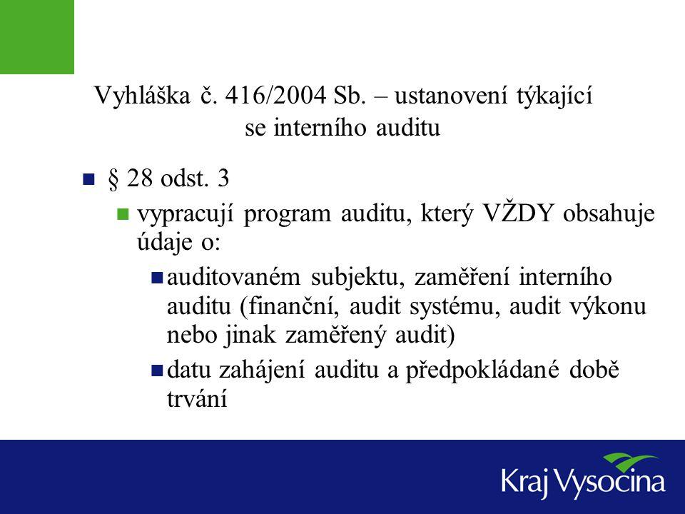 Vyhláška č. 416/2004 Sb. – ustanovení týkající se interního auditu § 28 odst. 3 vypracují program auditu, který VŽDY obsahuje údaje o: auditovaném sub