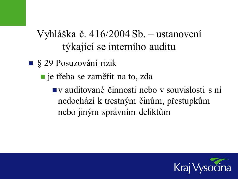 Vyhláška č. 416/2004 Sb. – ustanovení týkající se interního auditu § 29 Posuzování rizik je třeba se zaměřit na to, zda v auditované činnosti nebo v s