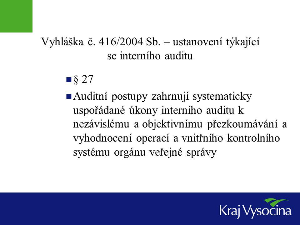 Vyhláška č. 416/2004 Sb. – ustanovení týkající se interního auditu § 27 Auditní postupy zahrnují systematicky uspořádané úkony interního auditu k nezá