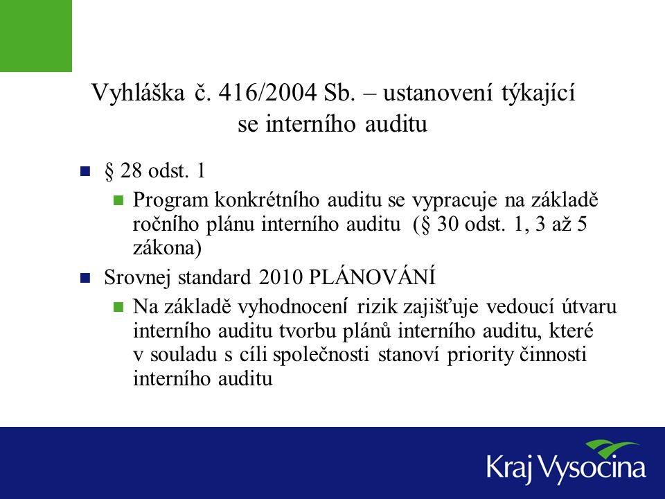 Vyhláška č. 416/2004 Sb. – ustanovení týkající se interního auditu § 28 odst. 1 Program konkrétn í ho auditu se vypracuje na základě ročn í ho plánu i