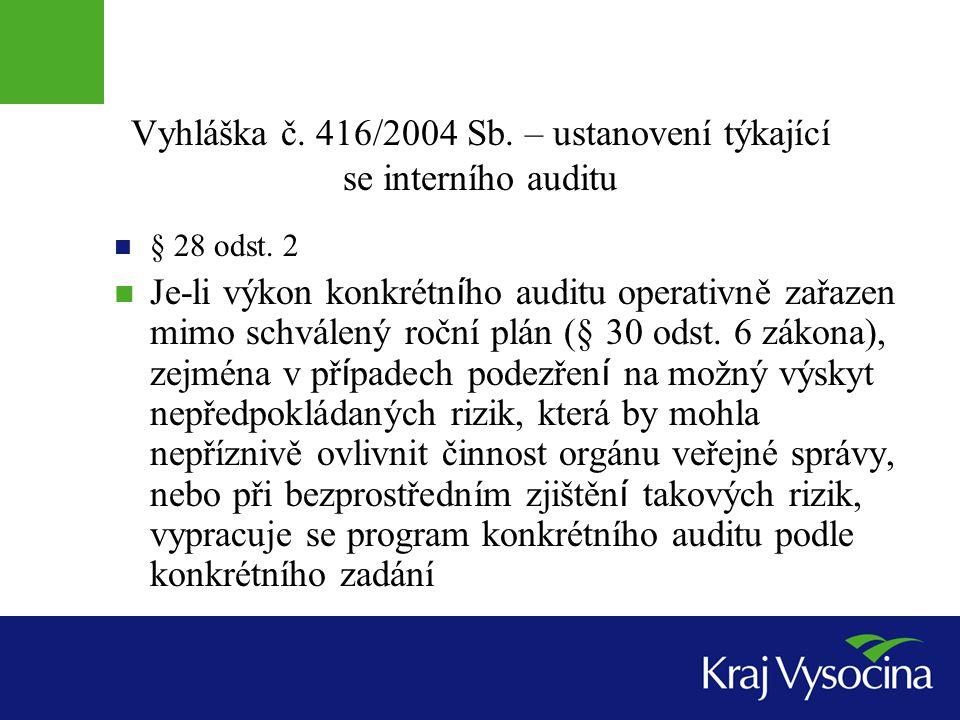 Vyhláška č. 416/2004 Sb. – ustanovení týkající se interního auditu § 28 odst. 2 Je-li výkon konkrétn í ho auditu operativně zařazen mimo schválený roč