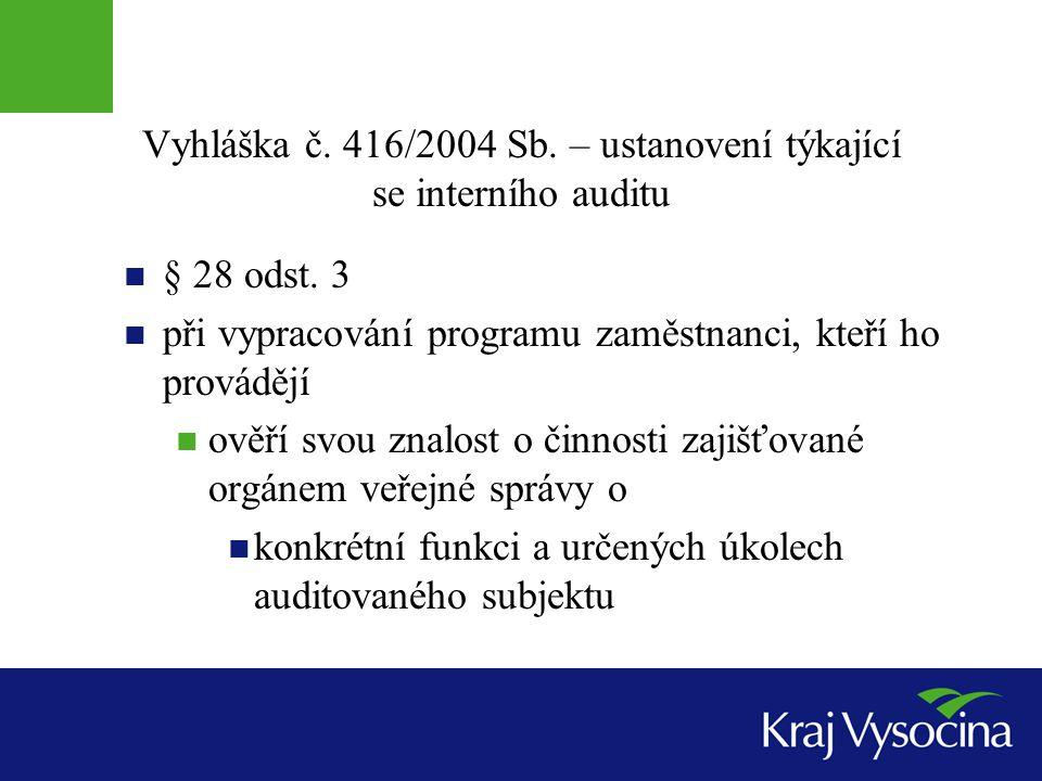 Vyhláška č. 416/2004 Sb. – ustanovení týkající se interního auditu § 28 odst. 3 při vypracování programu zaměstnanci, kteří ho provádějí ověří svou zn