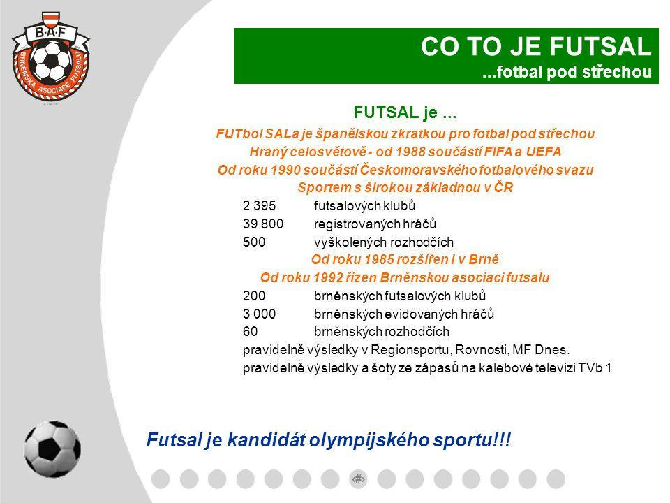 3 FUTSAL je... FUTbol SALa je španělskou zkratkou pro fotbal pod střechou Hraný celosvětově - od 1988 součástí FIFA a UEFA Od roku 1990 součástí Česko