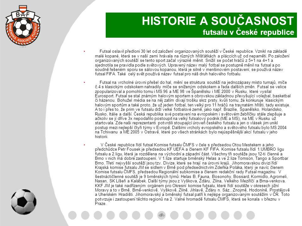 8 HISTORIE A SOUČASNOST futsalu v České republice Futsal oslavil předloni 30 let od založení organizovaných soutěží v České republice. Vznikl na zákla