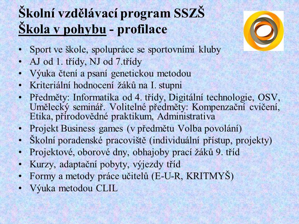 Školní vzdělávací program SSZŠ Škola v pohybu - profilace Sport ve škole, spolupráce se sportovními kluby AJ od 1.