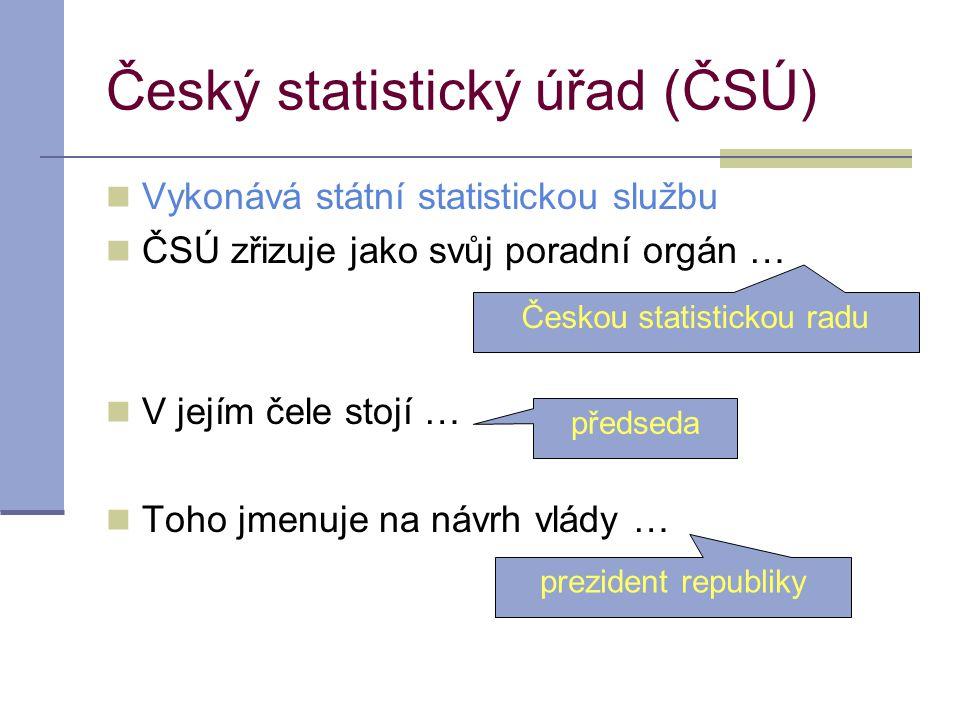 Český statistický úřad (ČSÚ) Vykonává státní statistickou službu ČSÚ zřizuje jako svůj poradní orgán … V jejím čele stojí … Toho jmenuje na návrh vlád