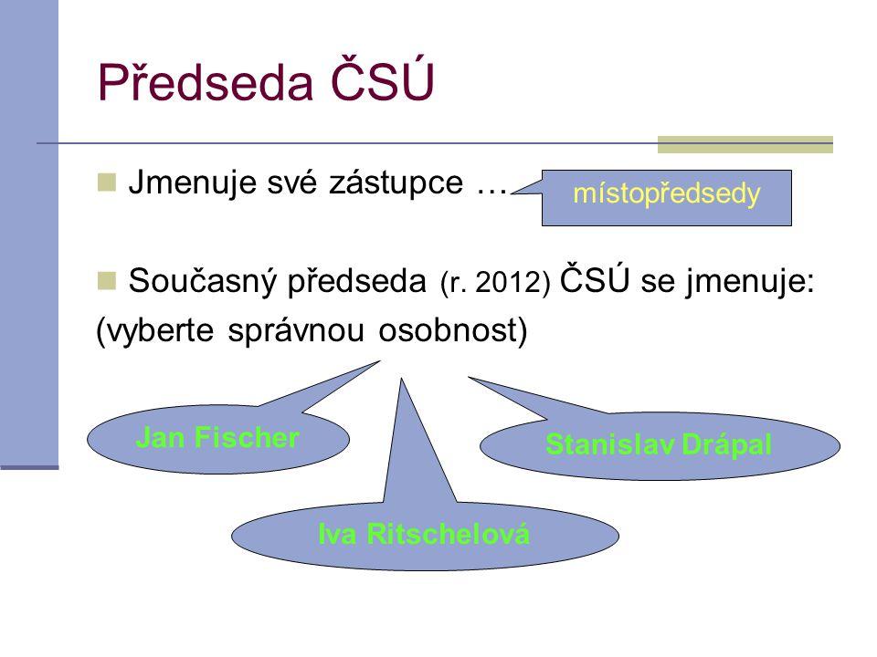 Předseda ČSÚ Jmenuje své zástupce … Současný předseda (r.