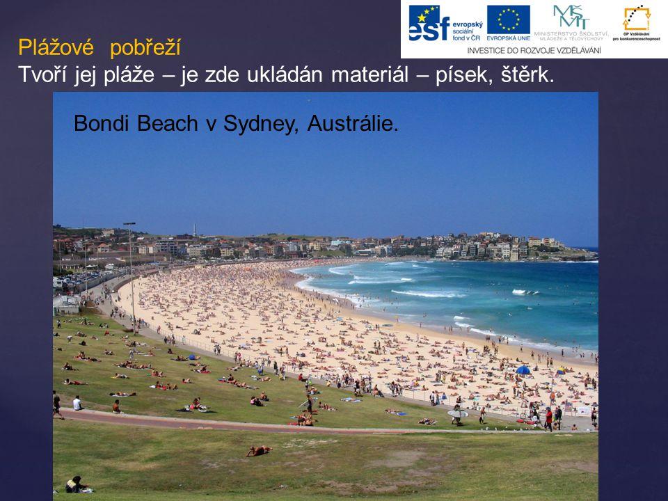 Plážové pobřeží Tvoří jej pláže – je zde ukládán materiál – písek, štěrk. Bondi Beach v Sydney, Austrálie.
