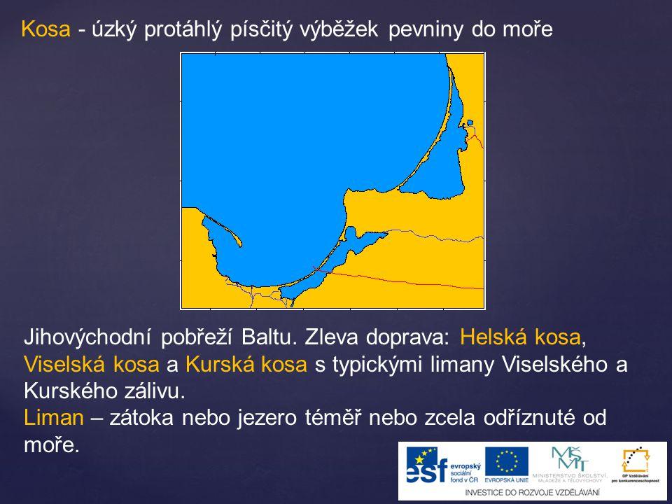 Kosa - úzký protáhlý písčitý výběžek pevniny do moře Jihovýchodní pobřeží Baltu.