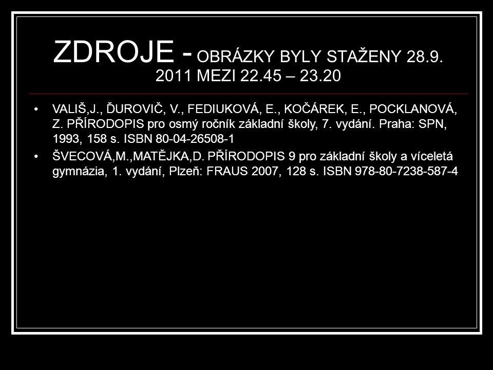 ZDROJE - OBRÁZKY BYLY STAŽENY 28.9. 2011 MEZI 22.45 – 23.20 VALIŠ,J., ĎUROVIČ, V., FEDIUKOVÁ, E., KOČÁREK, E., POCKLANOVÁ, Z. PŘÍRODOPIS pro osmý ročn