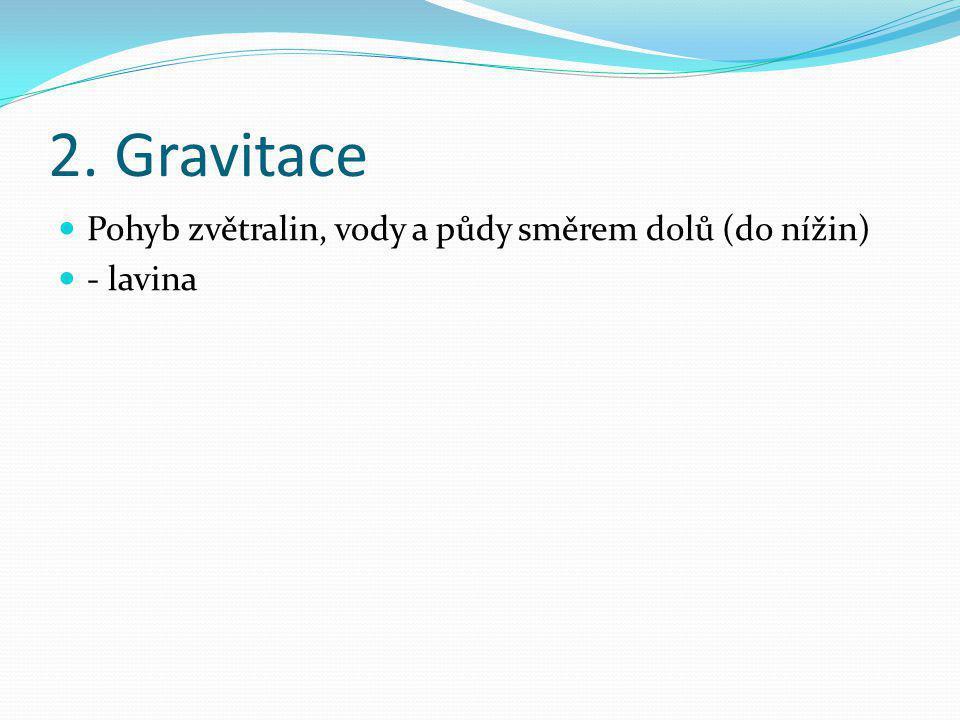 2. Gravitace Pohyb zvětralin, vody a půdy směrem dolů (do nížin) - lavina