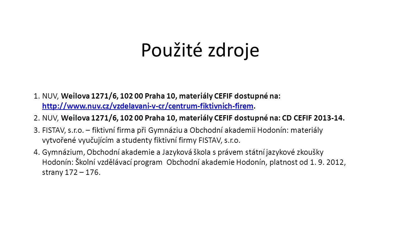 1.NUV, Weilova 1271/6, 102 00 Praha 10, materiály CEFIF dostupné na: http://www.nuv.cz/vzdelavani-v-cr/centrum-fiktivnich-firem. http://www.nuv.cz/vzd
