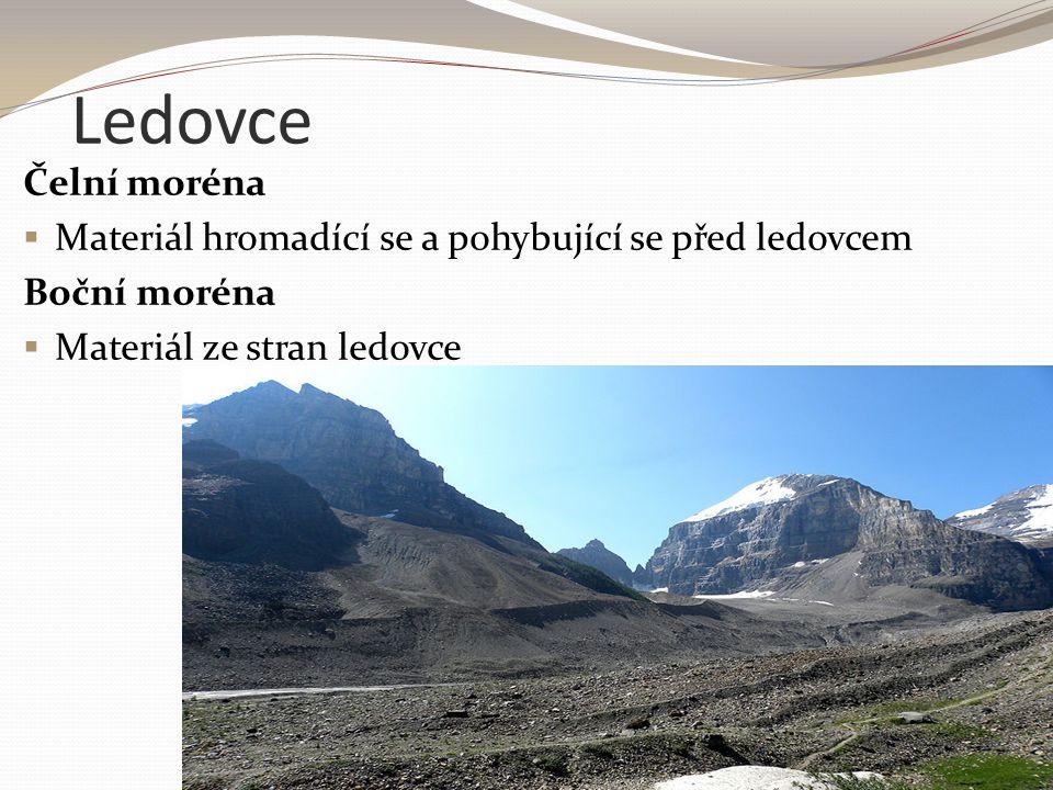 Ledovce Čelní moréna  Materiál hromadící se a pohybující se před ledovcem Boční moréna  Materiál ze stran ledovce