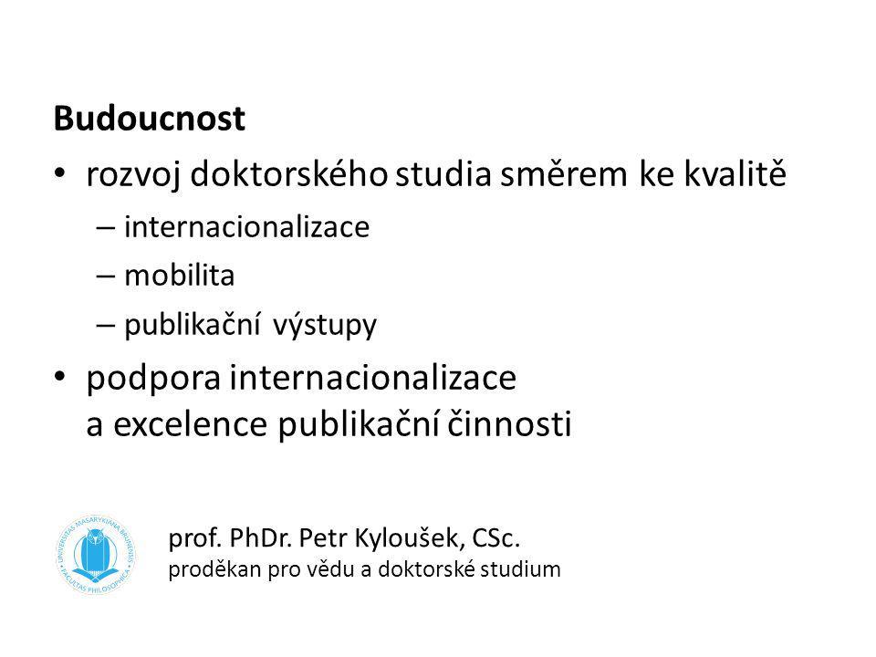 Budoucnost rozvoj doktorského studia směrem ke kvalitě – internacionalizace – mobilita – publikační výstupy podpora internacionalizace a excelence pub