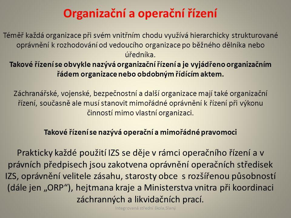 Organizační a operační řízení Téměř každá organizace při svém vnitřním chodu využívá hierarchicky strukturované oprávnění k rozhodování od vedoucího organizace po běžného dělníka nebo úředníka.