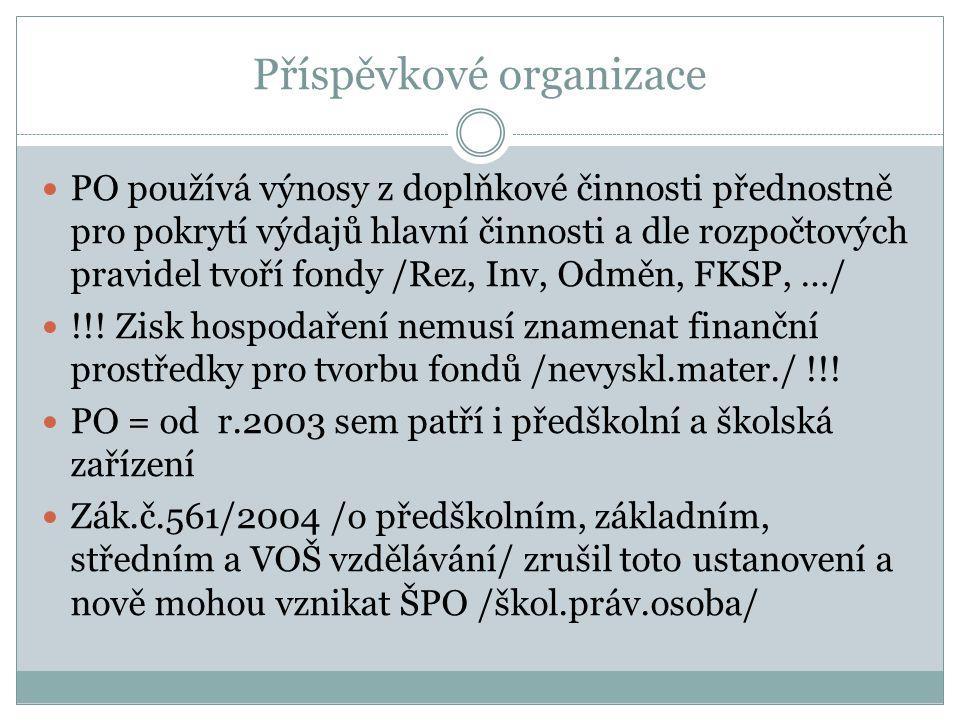 Příspěvkové organizace PO používá výnosy z doplňkové činnosti přednostně pro pokrytí výdajů hlavní činnosti a dle rozpočtových pravidel tvoří fondy /R