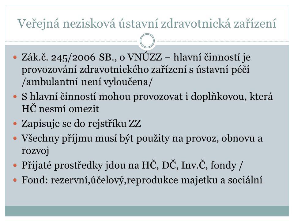 Veřejná nezisková ústavní zdravotnická zařízení Zák.č. 245/2006 SB., o VNÚZZ – hlavní činností je provozování zdravotnického zařízení s ústavní péčí /