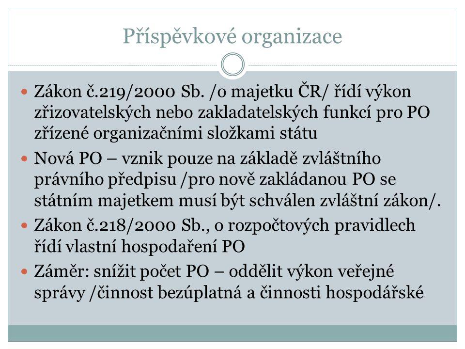 Příspěvkové organizace Zákon č.219/2000 Sb. /o majetku ČR/ řídí výkon zřizovatelských nebo zakladatelských funkcí pro PO zřízené organizačními složkam